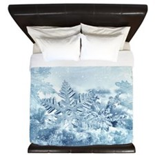 Snowflake Crystals King Duvet Cover