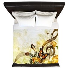 Butterfly Music Notes King Duvet Cover