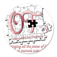 ot puzzle pink Round Car Magnet