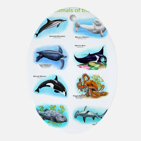 Ocean Animals Oval Ornament