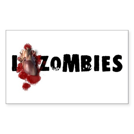 I Love Zombies Rectangle Sticker