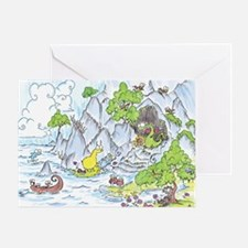 Dragon Cave with Sloth Greeting Card
