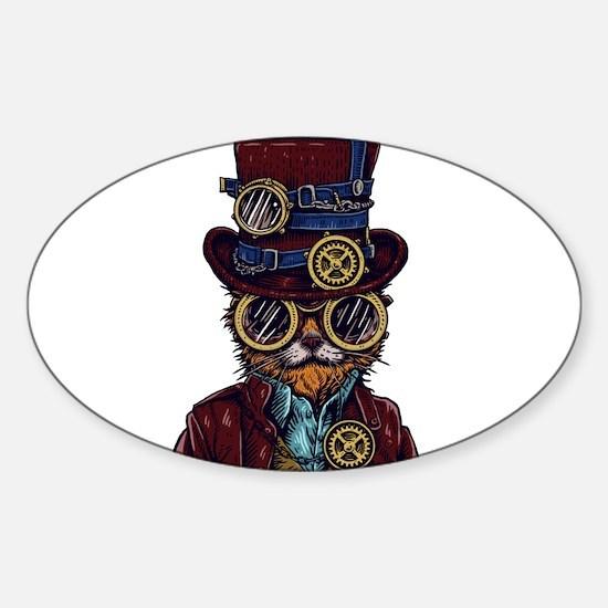 Steampunk Cat Illustration Decal