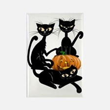 Three Black Kitties and a Pumpkin Rectangle Magnet