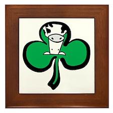 Irish Cow Shamrock Framed Tile