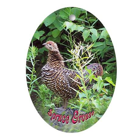 Spruce Grouse Oval Ornament