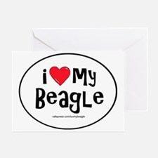 3-I love my beagle large Greeting Card