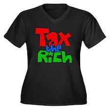 taxtherichbu Women's Plus Size Dark V-Neck T-Shirt