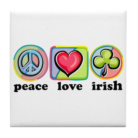 Peace Love Irish Tile Coaster