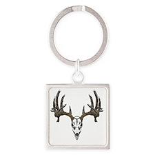 Whitetail deer skull Square Keychain