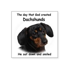 "God-Dachshund Dark Shirt Square Sticker 3"" x 3"""