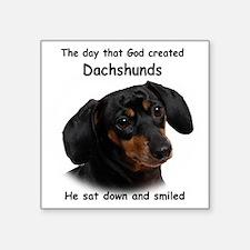 "God-Dachshund Dark Shirt Square Sticker 3"" x 3"""