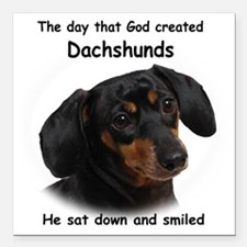 "God-Dachshund Dark Shirt Square Car Magnet 3"" x 3"""