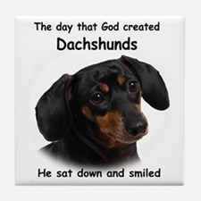 God-Dachshund Dark Shirt Tile Coaster