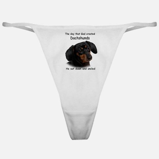 God-Dachshund Dark Shirt Classic Thong