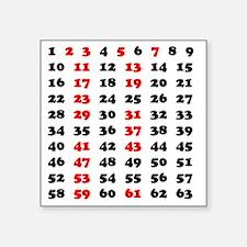 "2-Prime Numbers 01 copy Square Sticker 3"" x 3"""