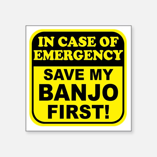"banjoEmergency Square Sticker 3"" x 3"""