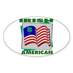 Irish American Shamrock Oval Decal