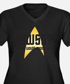 wwsd-01 Women's Plus Size Dark V-Neck T-Shirt
