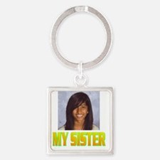 MY SISTER(front).gif Square Keychain