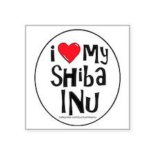 "2-I love my shiba inu large Square Sticker 3"" x 3"""