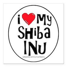 "2-I love my shiba inu la Square Car Magnet 3"" x 3"""