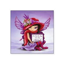 "Not the Age Fairy Tile-j Square Sticker 3"" x 3"""