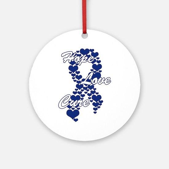 Peace Love Cure Yudu Dark Blue Round Ornament