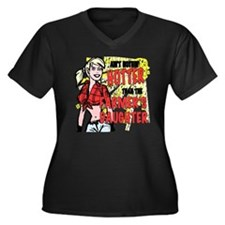farmersdaugh Women's Plus Size Dark V-Neck T-Shirt