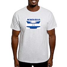 Flag Honduras Ribbon Ash Grey T-Shirt