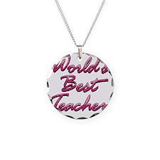 2-best teacher pink Necklace