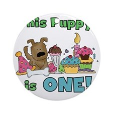 First Puppy Birthday Round Ornament