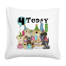 Dogs 4th Birthday Square Canvas Pillow