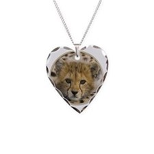 yule cheetah baby Necklace Heart Charm