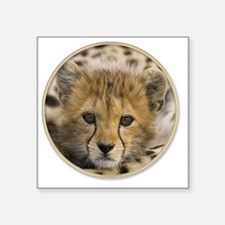 "yule cheetah baby Square Sticker 3"" x 3"""