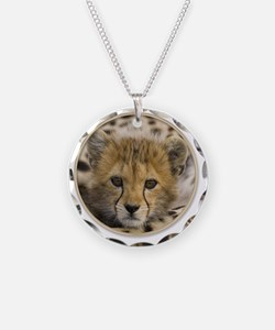 yule cheetah baby Necklace Circle Charm