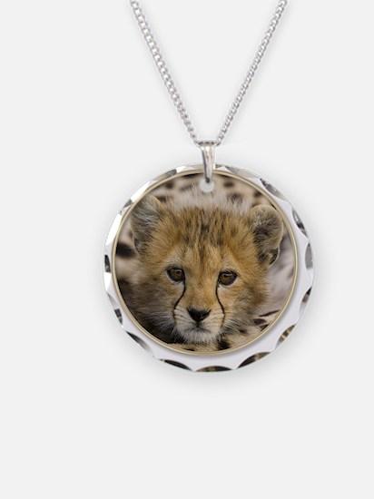 yule cheetah baby Necklace Circle Charm
