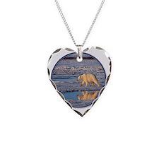 yule polar bear 2 Necklace Heart Charm