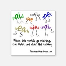 """Two Vowels Go Walking Square Sticker 3"""" x 3"""""""
