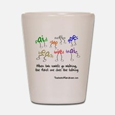 Two Vowels Go Walking Shot Glass