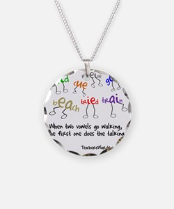 Two Vowels Go Walking Necklace
