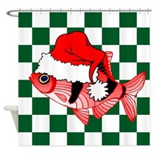 Santa Fish Checks Shower Curtain