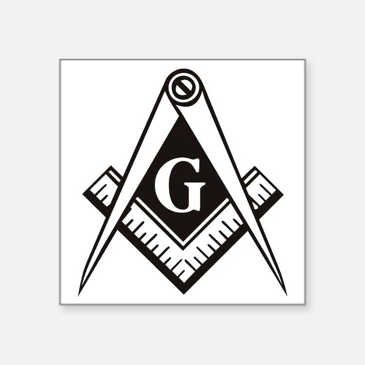 "Masonic Emblem Square Sticker 3"" x 3"""