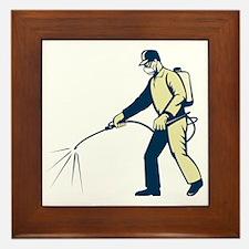 Pest control exterminator spraying sid Framed Tile