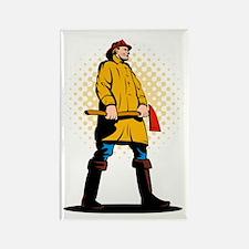 fireman firefighter standing axe Rectangle Magnet