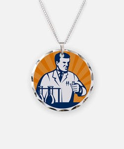 Scientist with laboratory ap Necklace