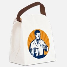 Scientist with laboratory apparat Canvas Lunch Bag