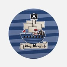 "Pirate Ship Ahoy Matey 3.5"" Button (100 pack)"
