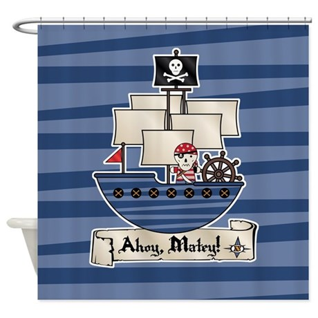 Pirate ship ahoy matey shower curtain