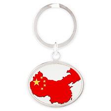 China_Flag_Map_1 Oval Keychain